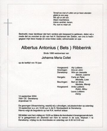 Afbeelding bij Albertus Antonius  RIBBERINK
