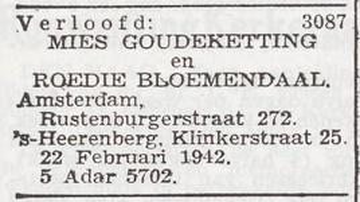 Verlovings-advertentieRoidi Josef Bloemendaal en Mietje Goudeketting