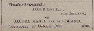 1879-10-19 Jacob Snoeij-Jacoba Maria van den Brand_Oostvoorne_Nieuwe Brielsche Courant_p002_huwelijk (Jakob Snoeij)