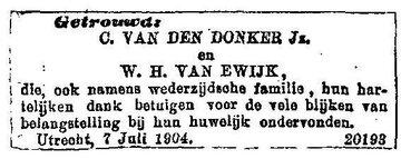 1904-07-07 C van den Donker Jr-WH van Ewijk_Utrecht_CBG-0257790001_huwelijk (Wilhelmina Hendrica van Ewijk)