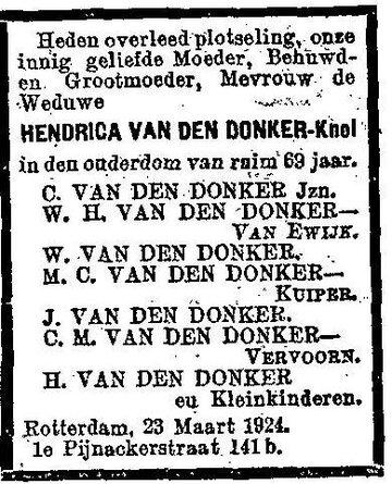1924-03-24 Hendrica Knol (wv van den Donker)_Nieuwe Rotterdamsche Courant_1409167994 (Hendrika Knol)