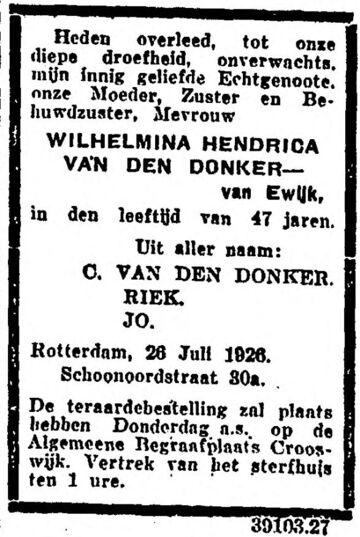 1926-07-27 Wilhelmina Hendrica van Ewijk (ev C van den Donker)_Nieuwe Rotterdamsche Courant_1409065885