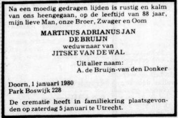 1980-1-1 Martinus Adrianus Jan de Bruijn (ev Alida van den Donker)_De Telegraaf_1407612185