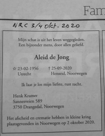 Afbeelding bij Aleid  De Jong
