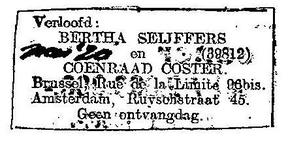 verloving Coenraad Coster en Bertha Seijffers