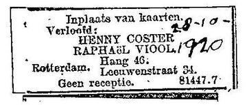 verloving Henny Coster (Heintje Coster)