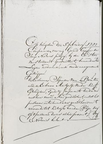 Notaris Gerard Camper de Jonghe, 5 feb 1757, blz. 1 (Martijntje Jansdr. van der Kerff)