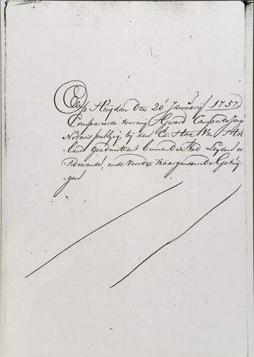 Notaris Gerard Camper de Jonghe, 20 jan 1757 blz 2. (Martijntje Jansdr. van der Kerff)