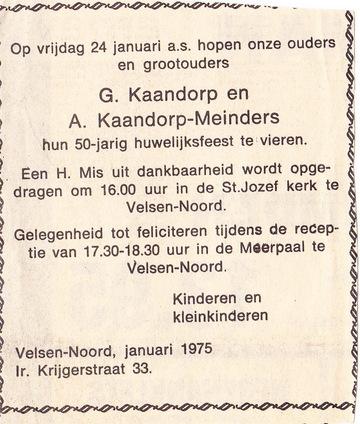 Kaandorp Meinders 50 jaar huwelijk advertentie (Johanna Maria Meinders)