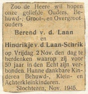 Advertentie50-jarig huwelijks-jubileum (Berend van der Laan)