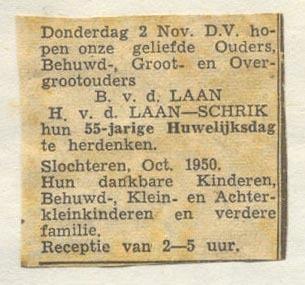 Advertentie 55-jarig jubileum (Berend van der Laan)