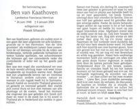 Bidprentje Ben van Kaathoven