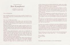 Bidprentje Ben Kamphorst
