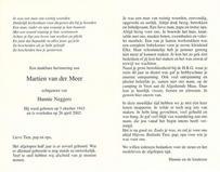 Bidprentje Martien van der Meer