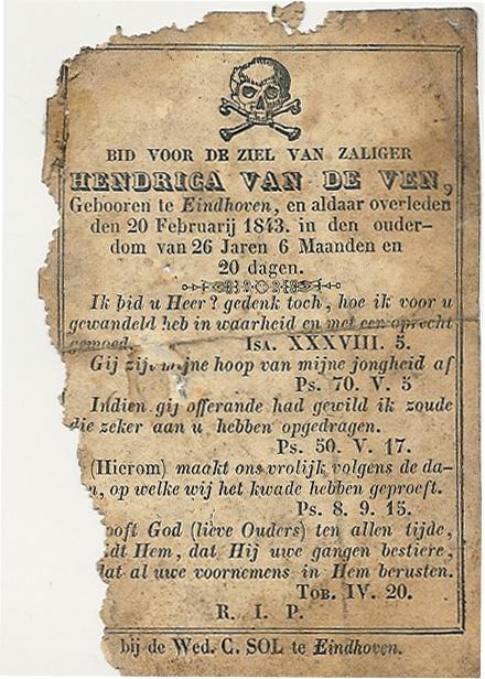Bidprentjes Hendrica van de Ven (1816-1843)